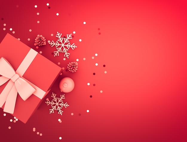 Christmas decoration with gift box, ball, pine cone, confetti and snowflakes. Premium Photo