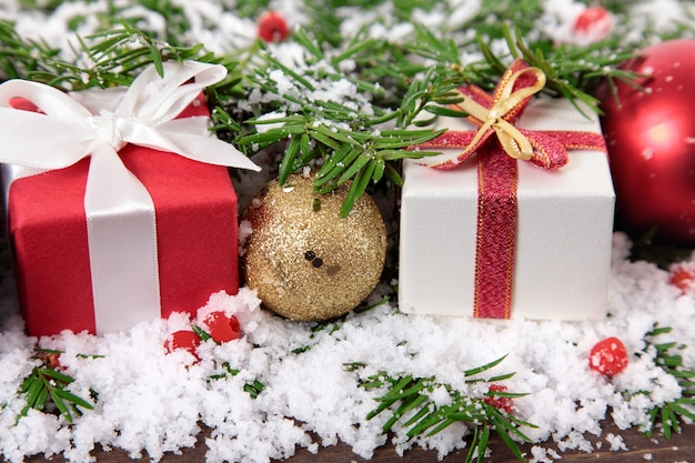 Christmas decoration with gifts Free Photo
