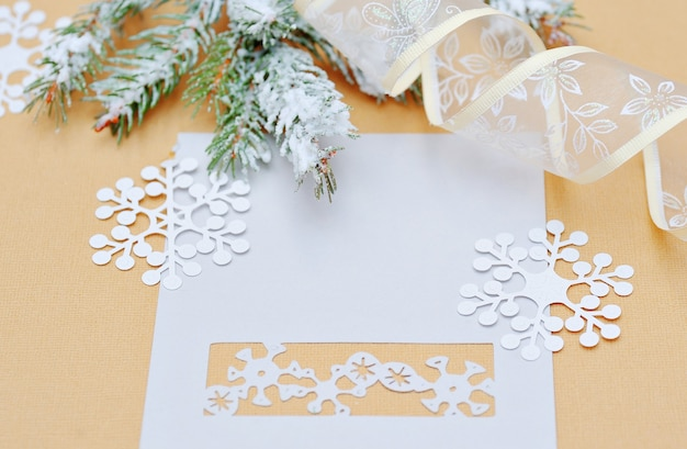 Christmas decoration with place for your text invitation. Premium Photo