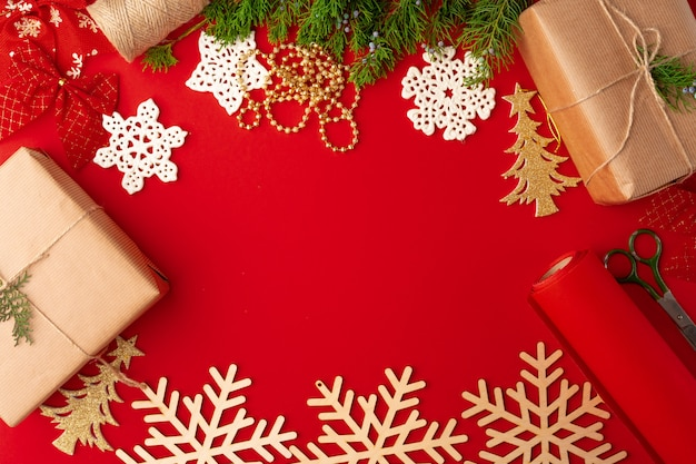 Christmas decorations background on red with copy space Premium Photo