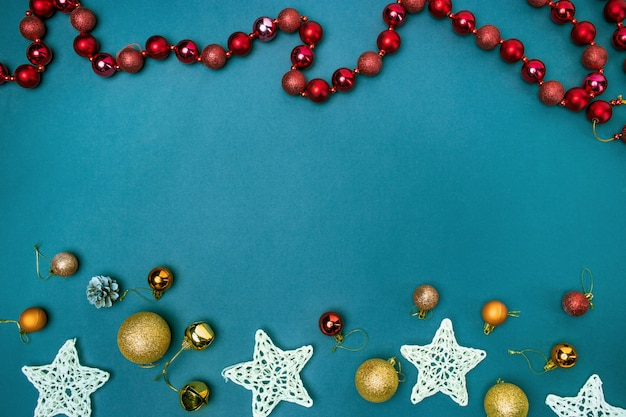 The christmas decorations on blue background Free Photo
