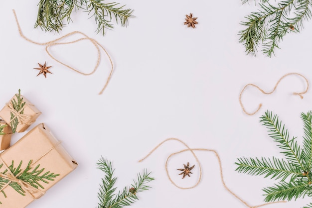 Christmas decorations forming frame shape Free Photo
