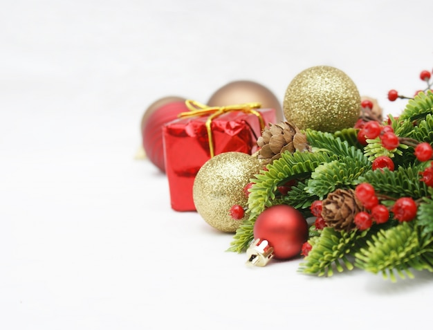 Christmas Decorations On A White Background Photo Free