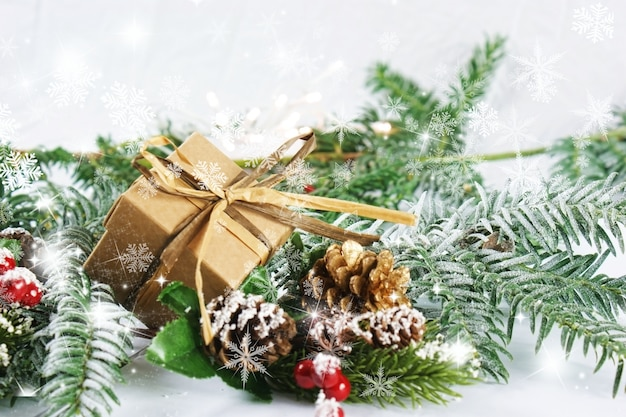 Christmas decorations with snowflakes overlay Free Photo