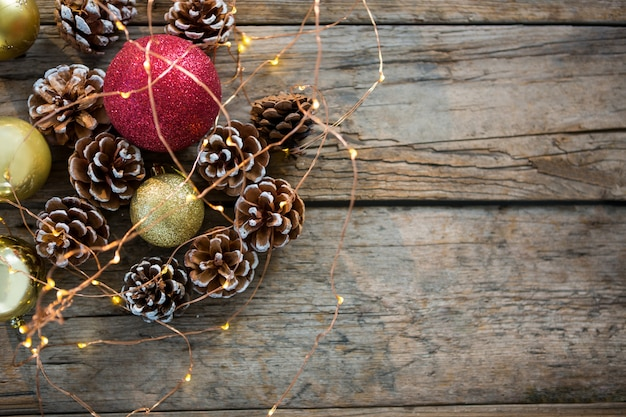Christmas Decorations On A Wooden Table Photo Free Download