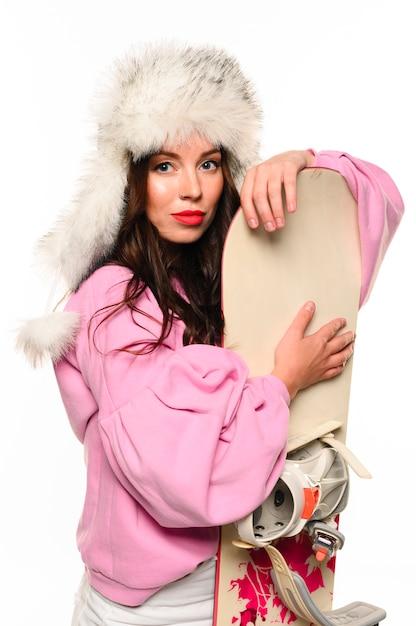 Free Photo Christmas Fashion Model Holding Snowboard