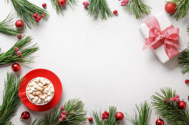premium photo  christmas festive border of coffee with