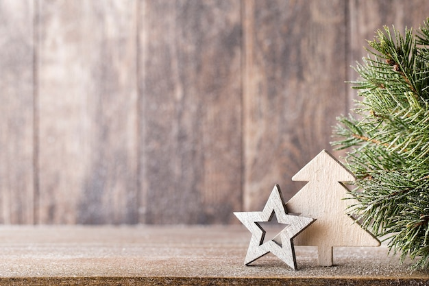 Christmas fir branch and decoration Premium Photo
