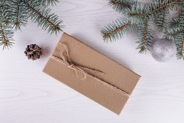 Christmas flat lay on wooden background Free Photo
