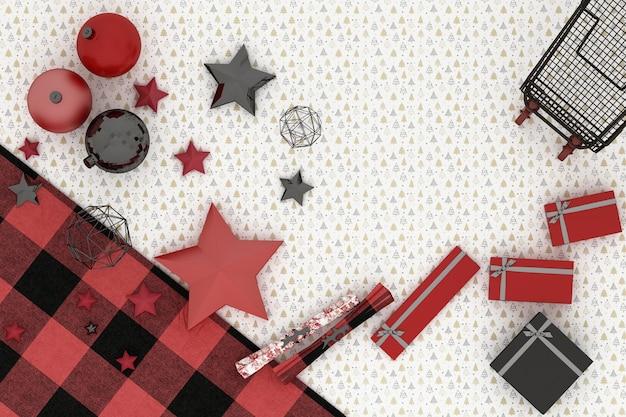クリスマスフレーム。白い木のパターンの背景に赤、赤、黒のクリスマスの装飾とカート Premium写真