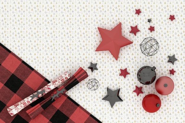 クリスマスフレーム。白い木のパターンの背景に赤、赤、黒のクリスマスの装飾 Premium写真