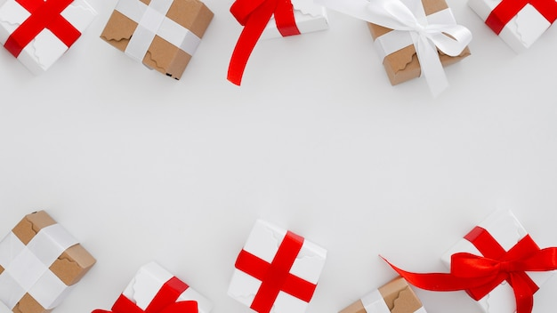 Christmas gift boxes on a white background with copy space Free Photo