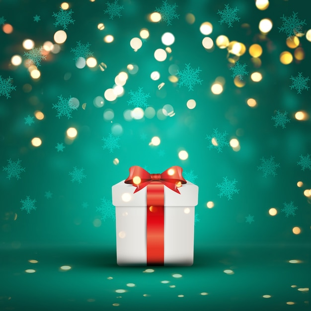 christmas gift on a bokeh lights background free photo