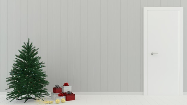 Christmas Gift Wood Wall Floor Tree Template Background Decoration