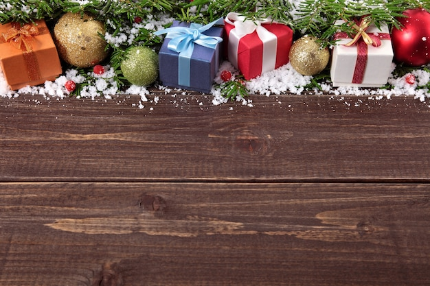 Christmas Wood Background.Christmas Gifts On Wooden Background Photo Free Download