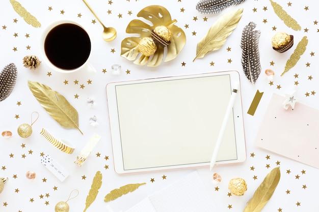 Christmas golden decoration on white Premium Photo