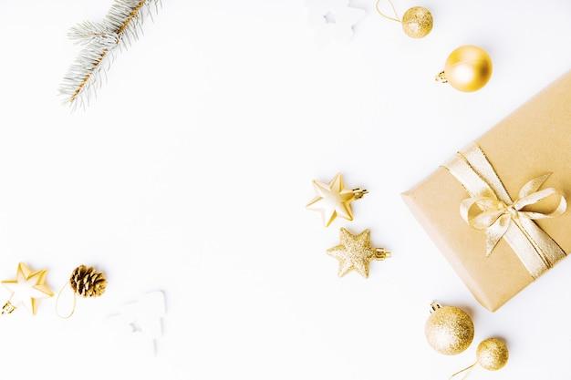 Christmas golden decoration on white Free Photo