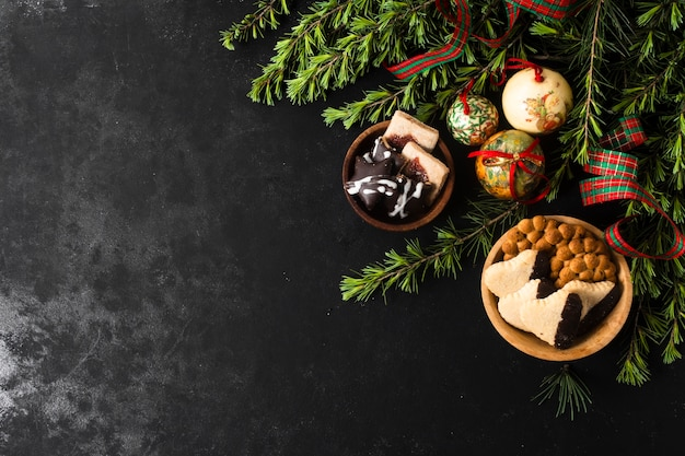 Christmas goodies with copy space Free Photo