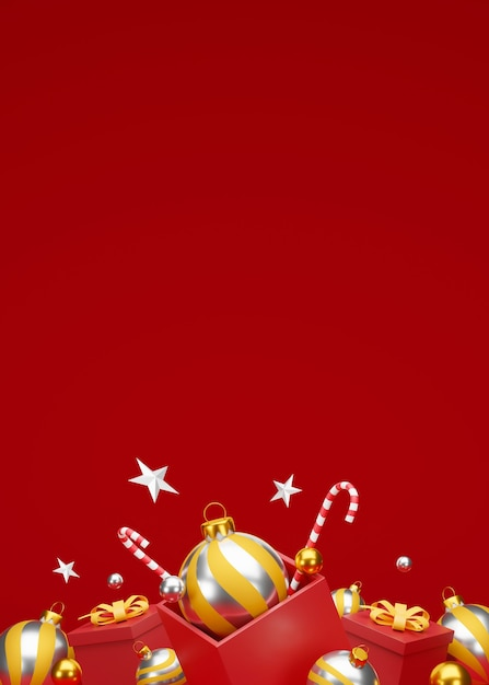 Christmas and happy new year background with festive decoration and copy space. 3d illustration Premium Photo