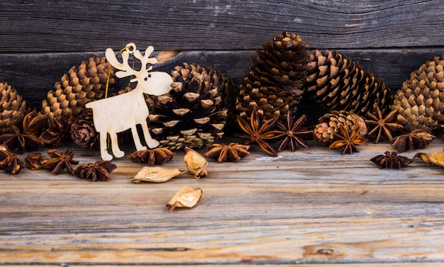 Christmas, holiday decorations, on wooden background Free Photo