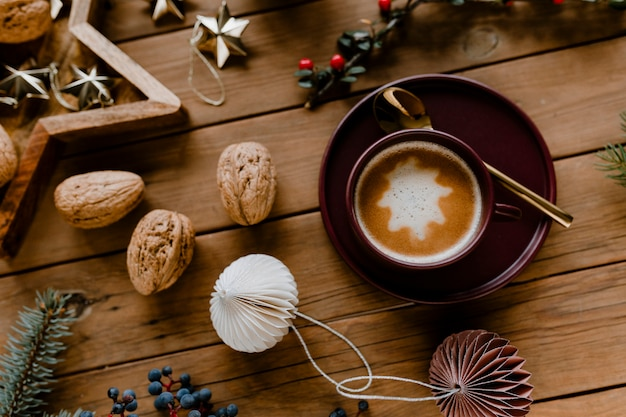 Christmas hot chocolate and walnut wallpaper Free Photo
