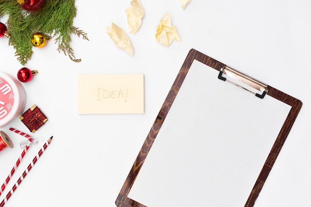 Christmas ideas, notes, goals or plan writing concept.winter holidays. merry christmas new Premium Photo