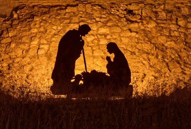 Christmas installation on the theme of the birth of jesus christ Premium Photo