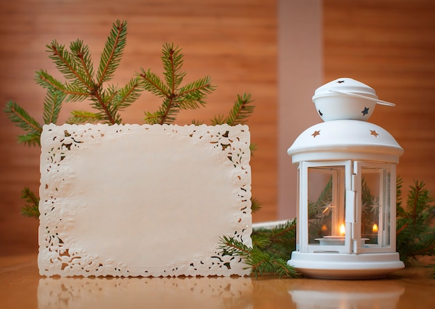 Christmas invitation with place for your text, frame of trees. Premium Photo