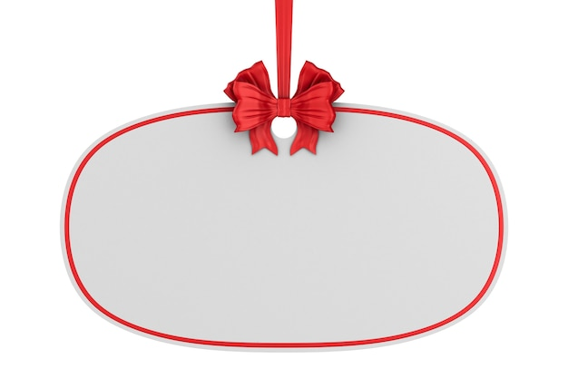 Christmas label with red ribbon and bow on white background. isolated 3d illustration Premium Photo