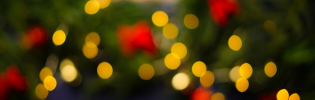 Christmas light bokeh background banner Premium Photo
