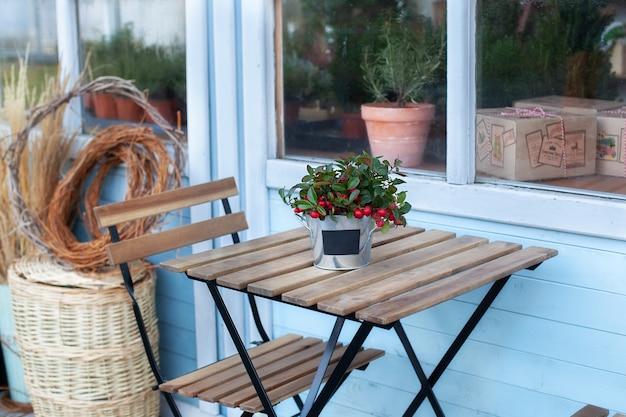 Рождественская омела с красными ягодами в горшке на деревянном столе. домашнее растение на террасе дома Premium Фотографии