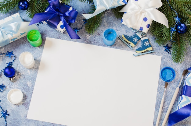 Christmas mock up for greeting card or letter to santa in blue color. Premium Photo
