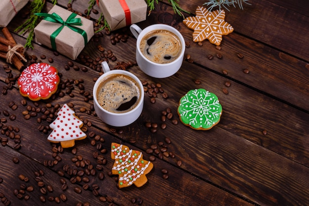 Christmas morning with fragrant coffee Premium Photo
