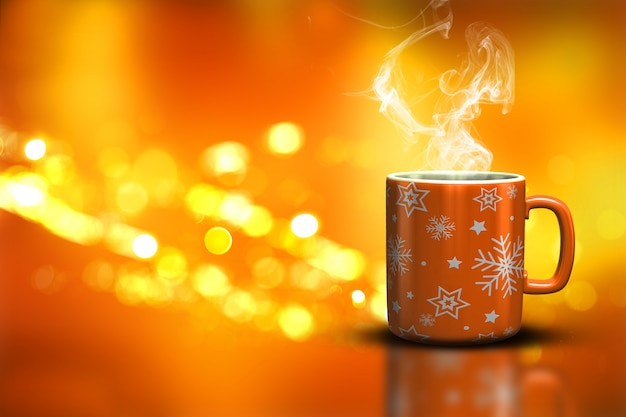 Christmas Mug On A Bokeh Lights Background Photo