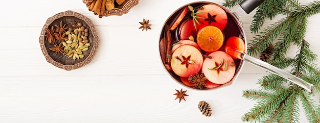 Christmas mulled wine and spices. . banner Free Photo