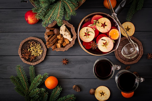 Christmas mulled wine and spices.  flat lay. top view Free Photo
