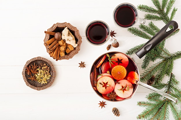 Christmas mulled wine and spices. Free Photo