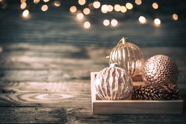 Christmas or new year background, vintage toys on the christmas tree Free Photo