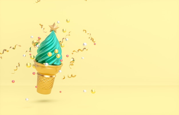Christmas and new year background with christmas tree on ice cream cone. Premium Photo