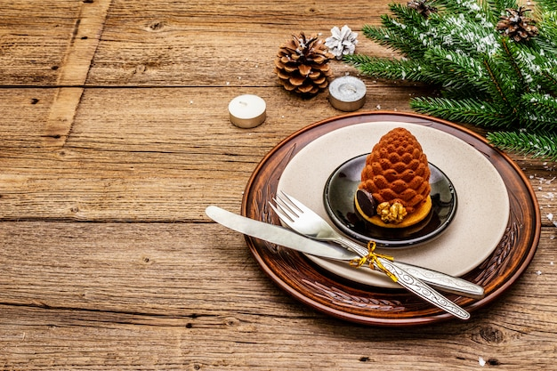 Christmas and new year dinner place setting Premium Photo