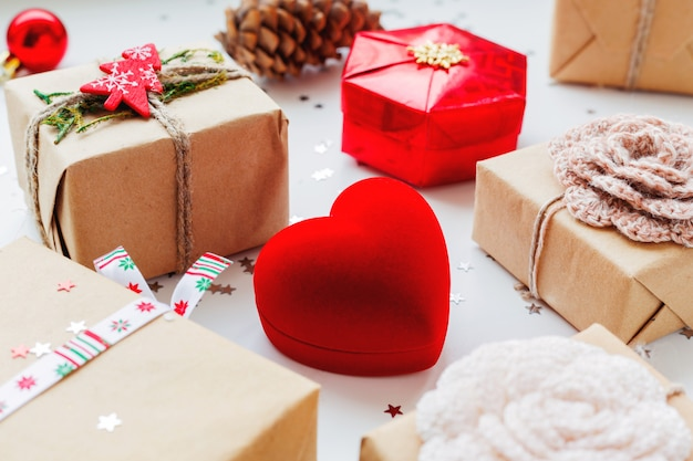 Christmas and new year with presents and decorations. Premium Photo