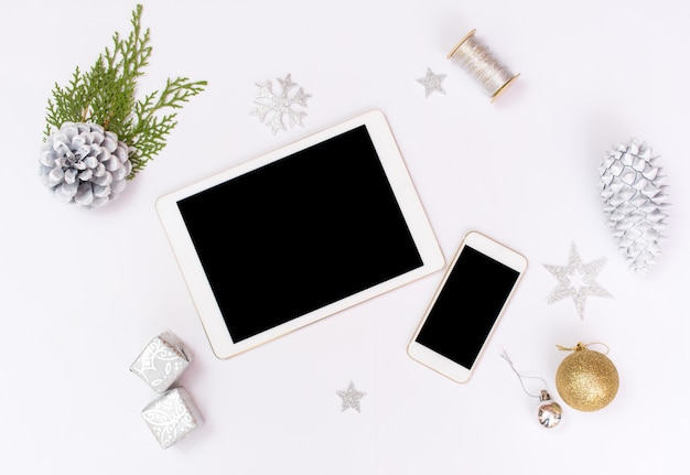 christmas or new year background ipad tablet iphone smartphone gold glass balls premium photo