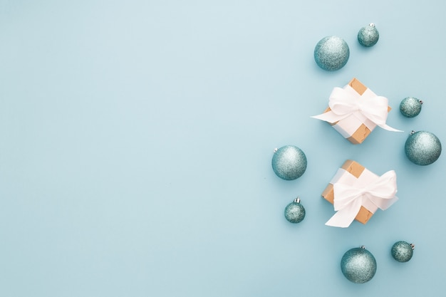 Christmas ornaments on a blue light background Free Photo