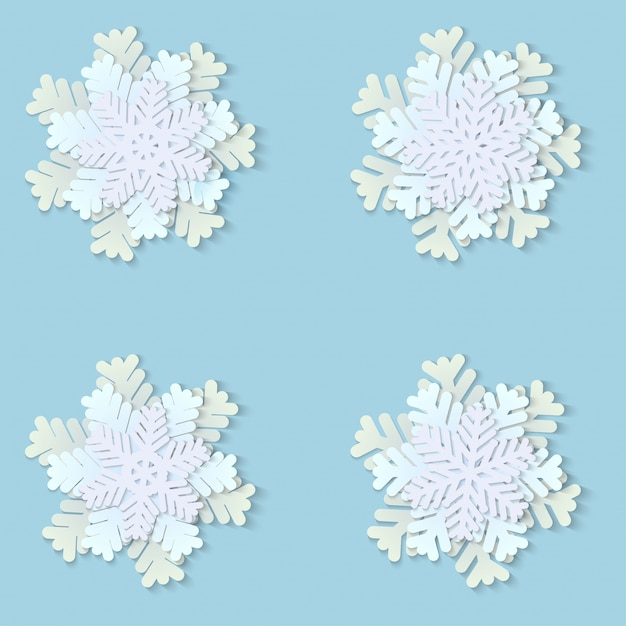 Christmas paper snowflakes with shadow Premium Photo