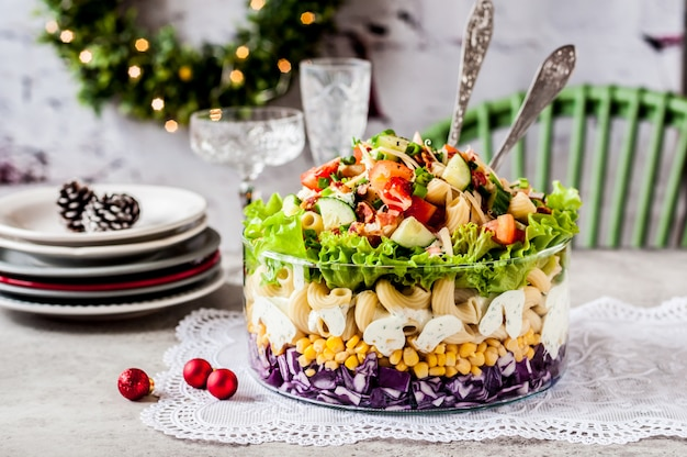 Christmas pasta salad Premium Photo