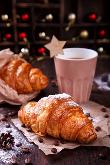 Christmas  pastries croissant Premium Photo