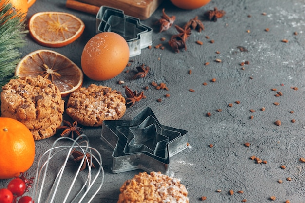 Christmas pastry cooking, christmas cooking festive concept Premium Photo