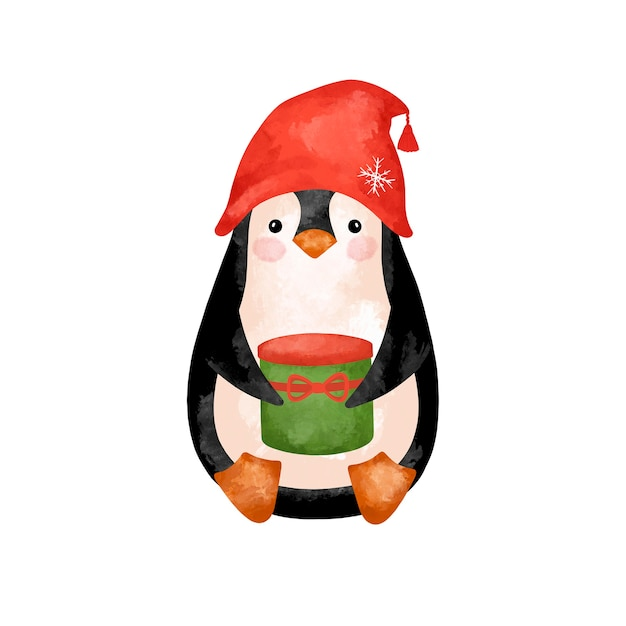 Christmas penguin isolated stock illustration, watercolor penguin in red hat with presents Premium Photo