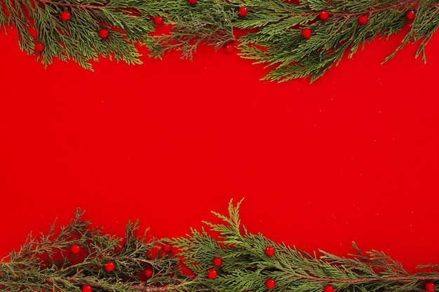 Christmas pine leaves on a red frame background with copyspace Free Photo