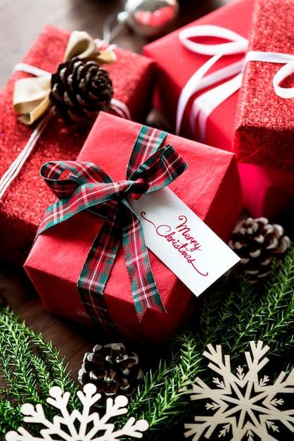 Christmas present boxes Free Photo
